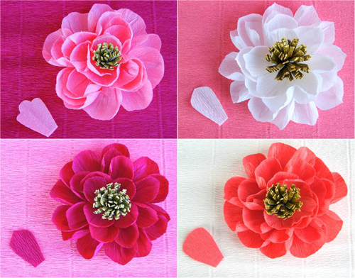 Цветы для открытки из гофрированной бумаги своими руками