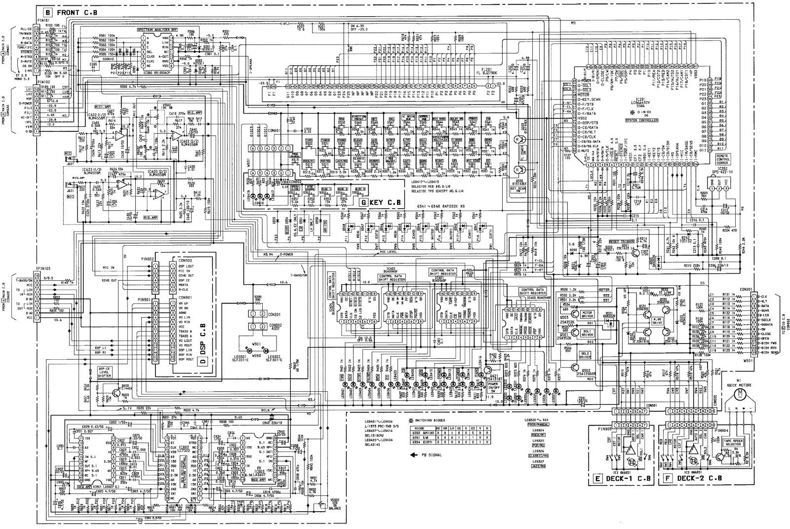 Aiwa Xs Z1100 Cx Z1200 Zap1 Compact Disc Stereo Wiring Diagram Front Cba