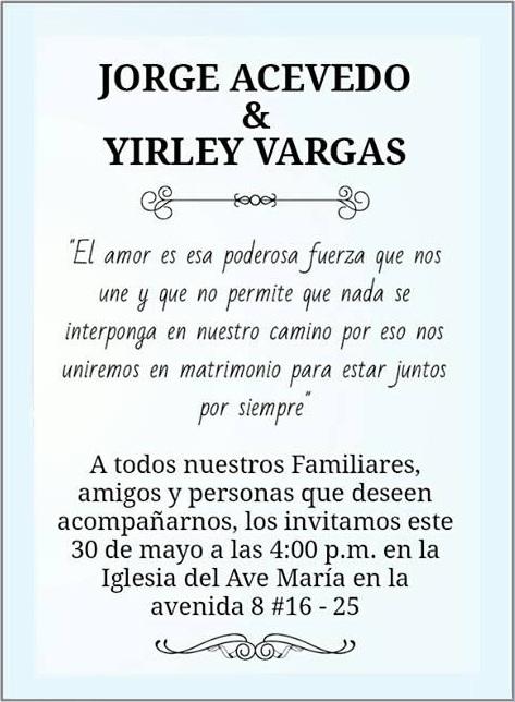 El amor es esa poderosa fuerza que une a Jorge Acevedo y Yirley Vargas -- CucutaNOTICIAS.com