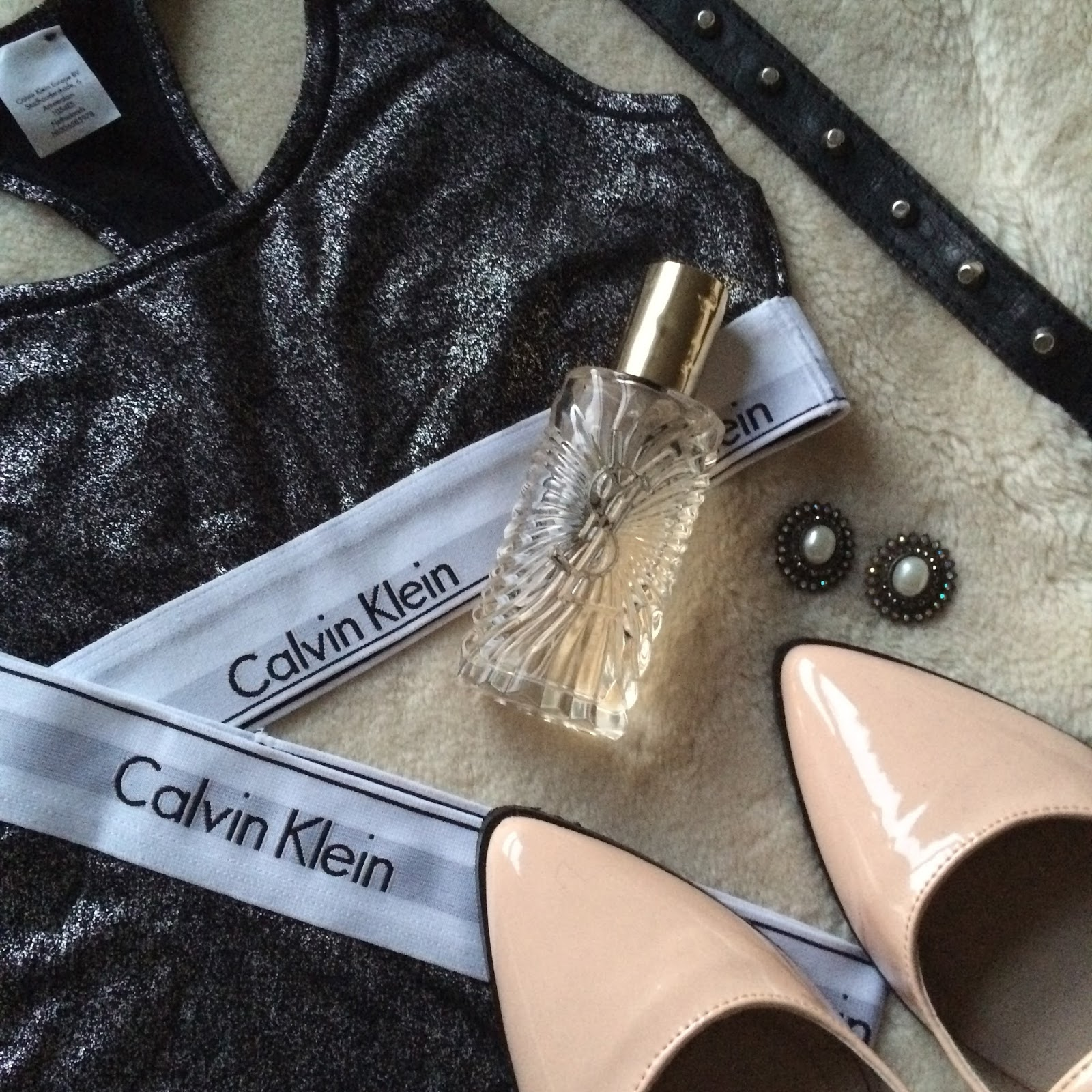 flat lay, instagram, fashion blogger, calvin klein underwear, perfume, earrings