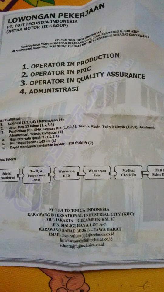 Daftar Lowongan Kerja Terbaru di PT. Fuji Technica Indonesia (Astra Motor Group) Karawang International Industrial City (KIIC)