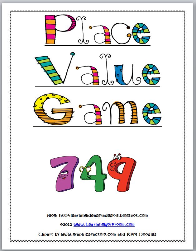 It is a graphic of Handy Printable Place Value Game