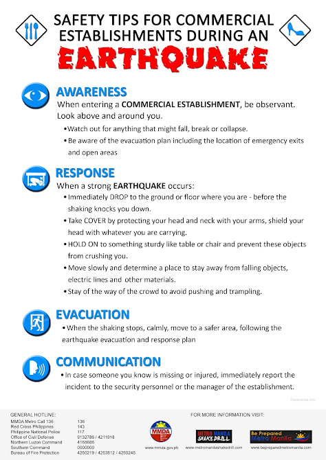 What to do during earthquake if in commercial establishments?
