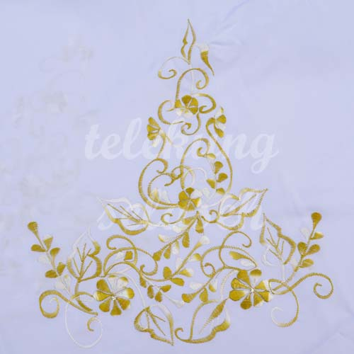 Telekung Vietnam kuning keemasan sulam bunga timbul