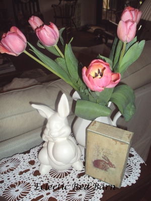 Tulips, ceramic bunny and bunny box