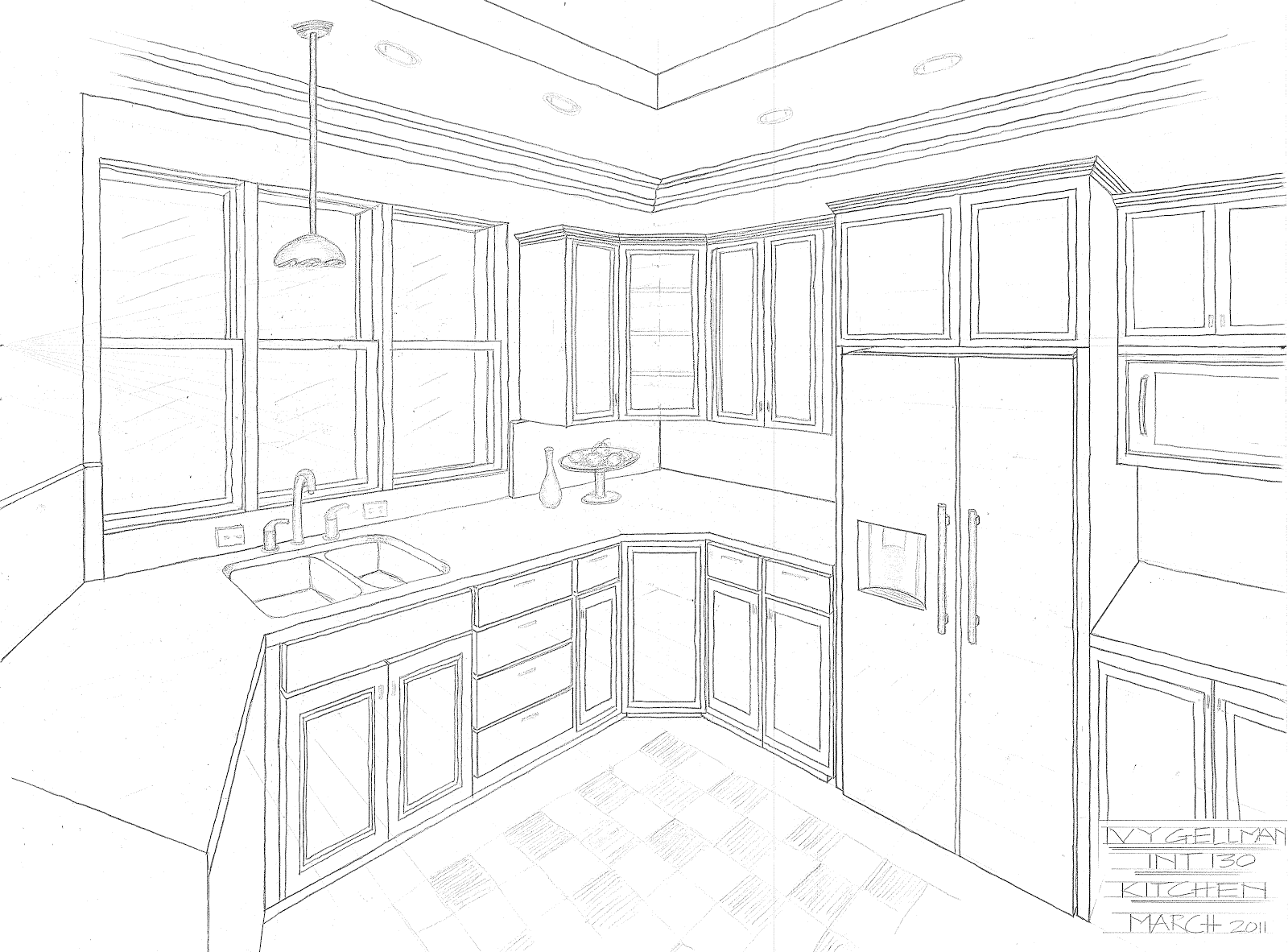Interior design perspective drawing for Simple drawing room interior design