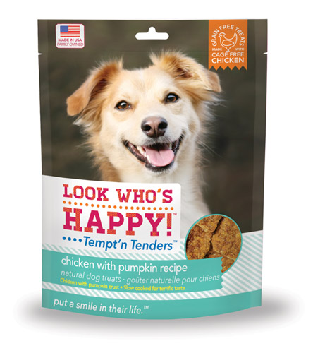 A bag of Look Who's Happy Tempt'n Tenders Chicken with Pumpkin