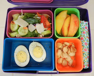 Salad+Hardboiled+Egg+Peaches+Almond+Bento Weight Loss Recipes A day in my pouch