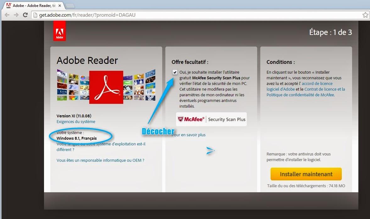 tuto telecharger adobe reader pour voir les fichiers pdf sur le site officiel