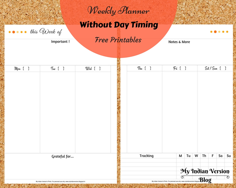 weekly planner printable without day timing pages