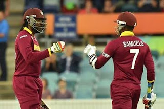Chris Gayle and marlon Samuel after 372 runs