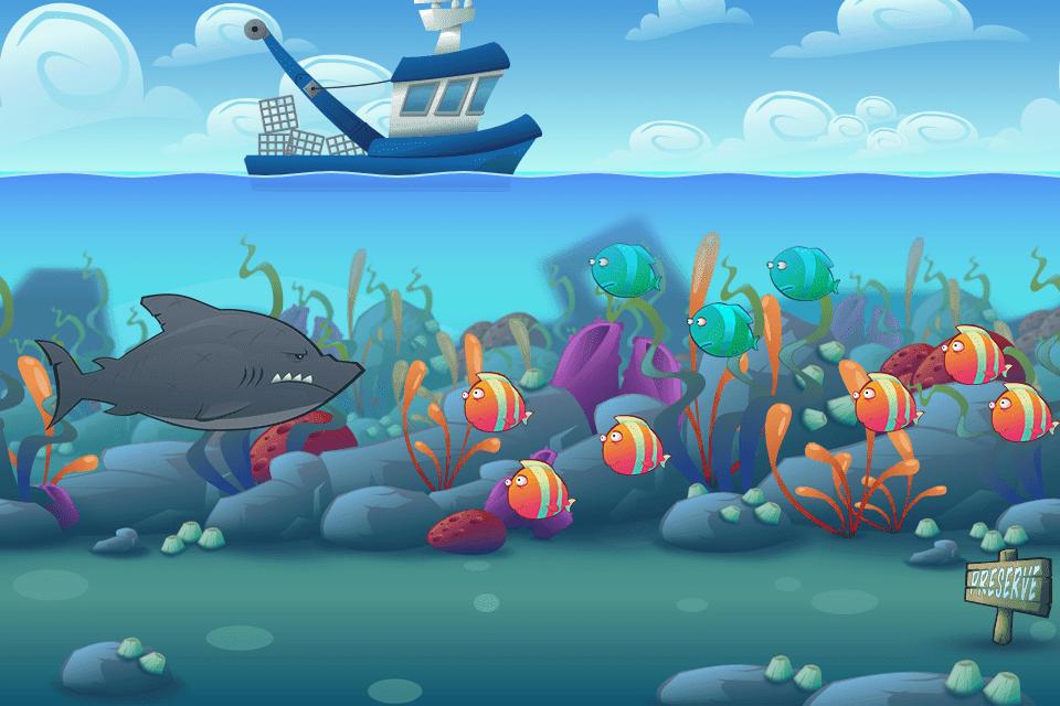 Bottom Feeders Game Tropical Ocean Inkscape Vector Illustration Mockup