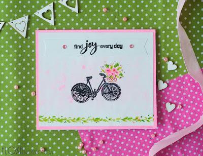 скрапбукинг акварель открытка велосипед цветы