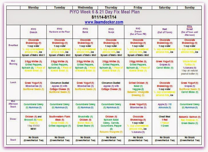 PiYO,  Meal Planning,  Clean Eating, 21 Day Fix, T25, 21 Day Fix Meal Plan