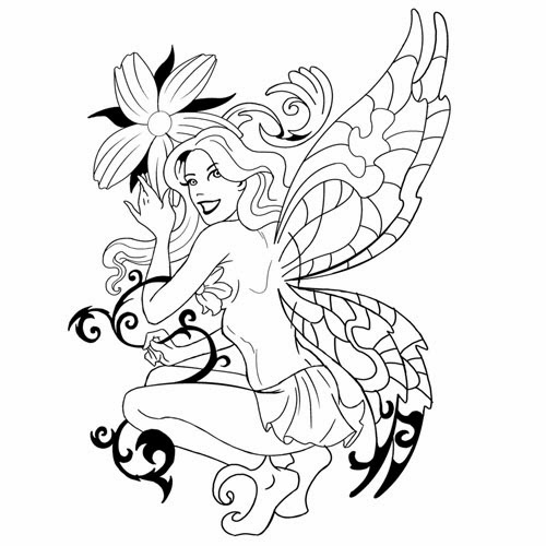 Fairy with daisy tattoo stencil