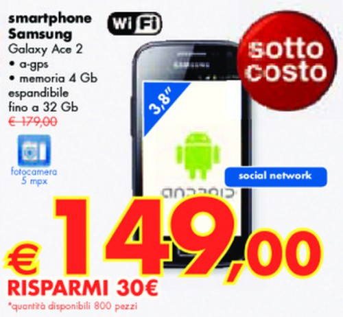 L'ultimo volantino panorama si conferma ricco di offerte con il Galaxy Ace 2 venduto a soli 149 euro