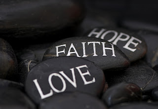 Faith, Hope, Love, rocks