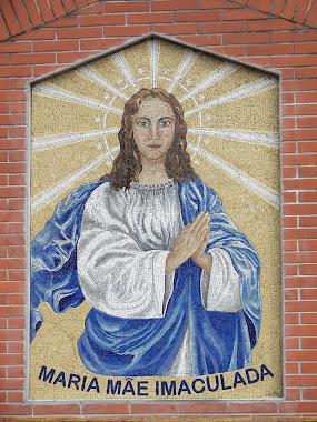 Mosaico no estilo Bizantino de Maria Imaculada.