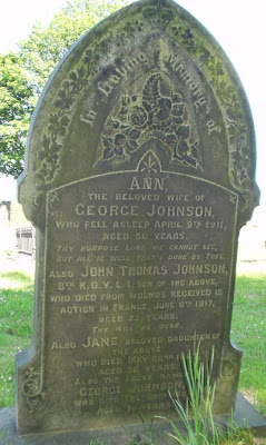 A old style gravestone with an arched decorated top.  It recalls several members of the Johnson Family including the son who is buried in France.