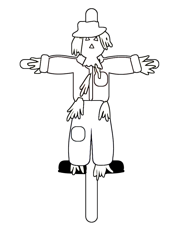 Cute scarecrow clipart black and white