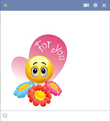 Emoticon with flowers for you