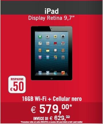 Il nuovo volantino mondadori propone l'iPad retina display con uno sconto di 50 euro rispetto al prezzo originale