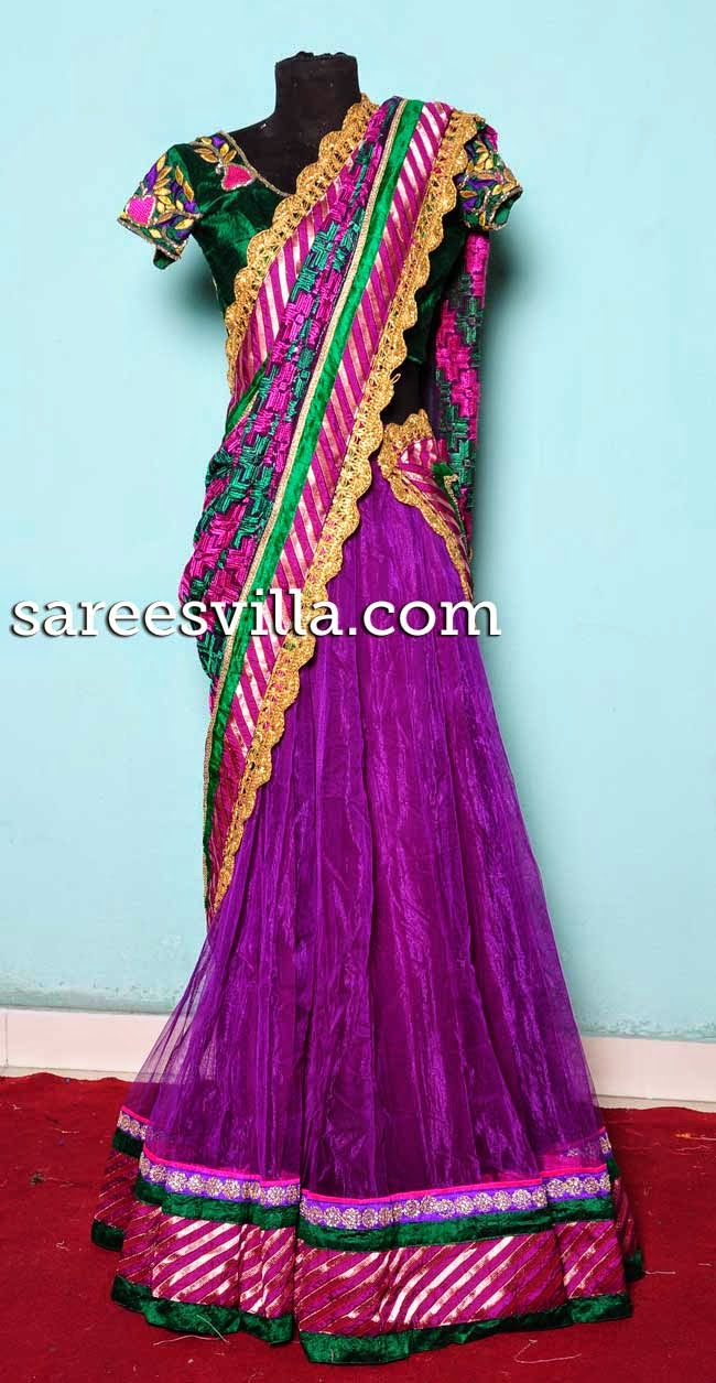 Purple netted half saree