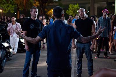 VPaul Walker and Vin Diesel in Fast Five shooting