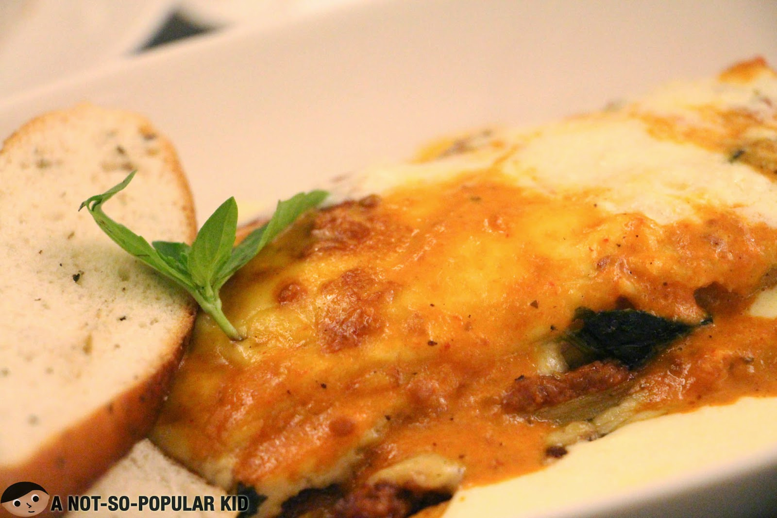 A closer look of the fantastic baked lasagna of the Cafe Astoria