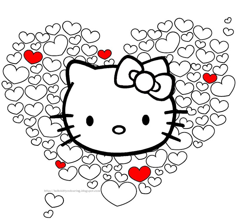 HELLO KITTY VALENTINE HEARTS PRINT AND COLOR title=