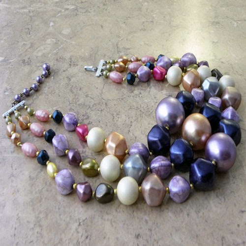 hong kong purple multi strand necklace