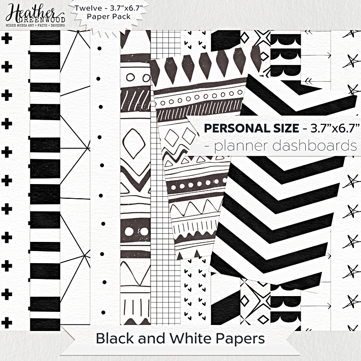 Black and White Geometric Digital Papers | FiloFax Personal Planner Sized digital papers by Heather Greenwood Designs