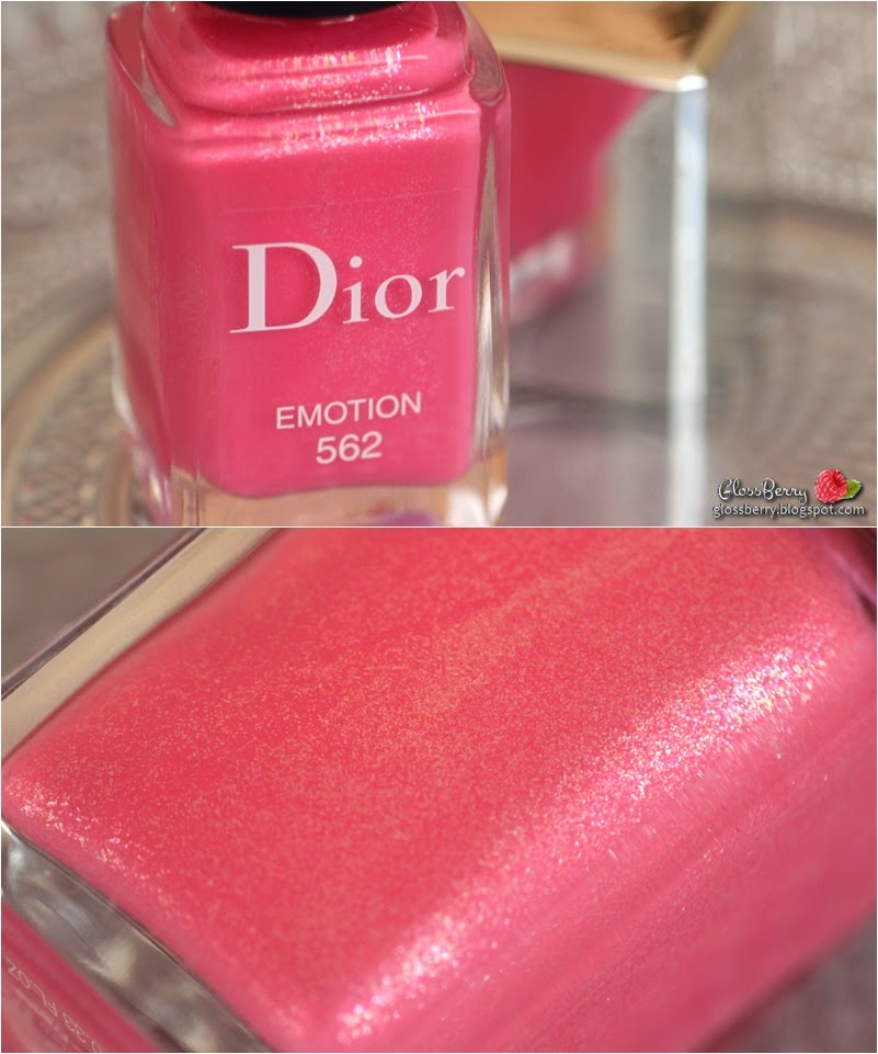 dior 562 empotion vernis nail polish nailpolish pink shimmer swatch review glossberry סקירה סווטץ' לק דיור ורוד בלוג איפור וטיפוח
