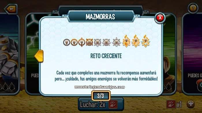 imagen de los niveles del reto de las mazmorras de monster legends ios