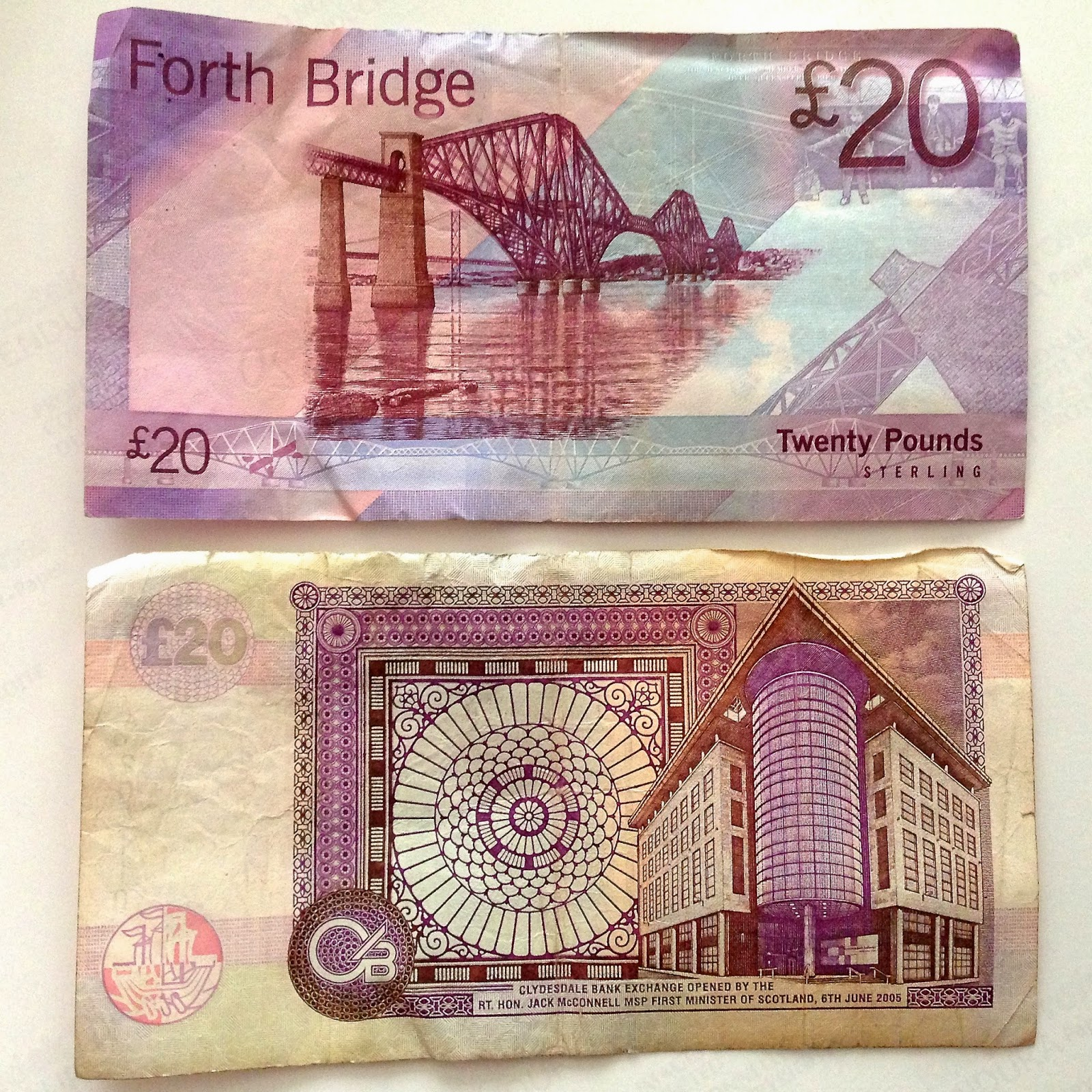 Twenty pound notes (back) from Bank of Scotland and Clydesdale Bank