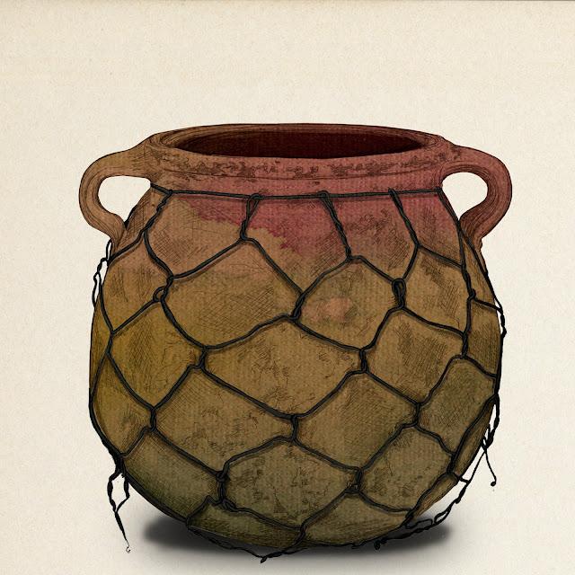 olla de barro, remendada, coleccion museo de etnologia, valencia, dibujo