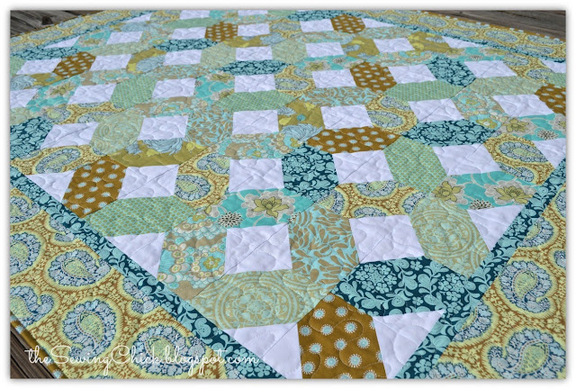 aqua and brown modern quilt
