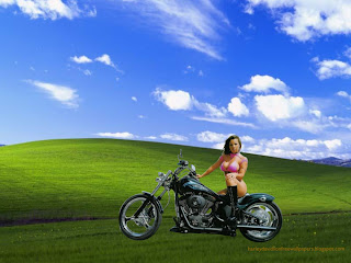Harley Davidson Posters Wallpapers of Beautiful Big Bikes Babes Girls posing in Countryside Landscape background
