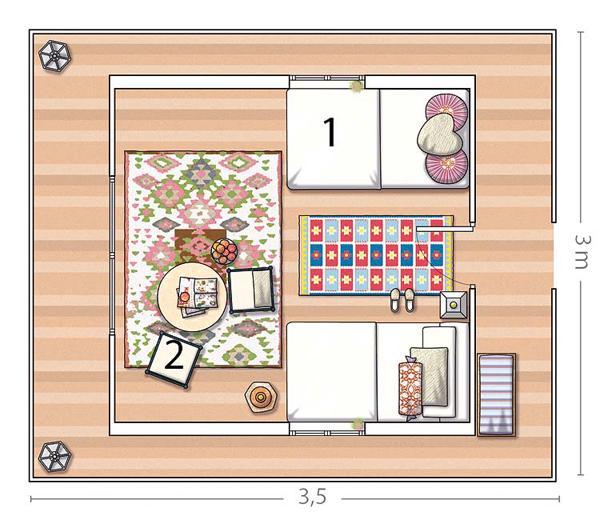 Dormitorio infantil -cabaña de madera pequeña -plano de distribucion
