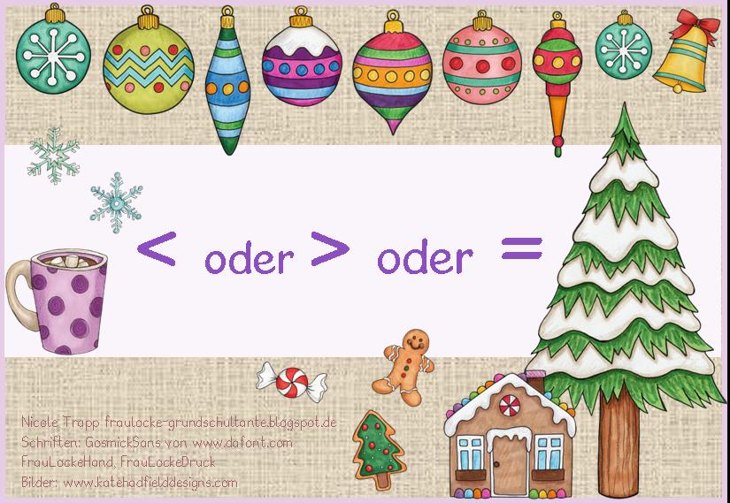 Weihnachtliche Kartei zu kleiner und größer bis 10 - Frau Locke