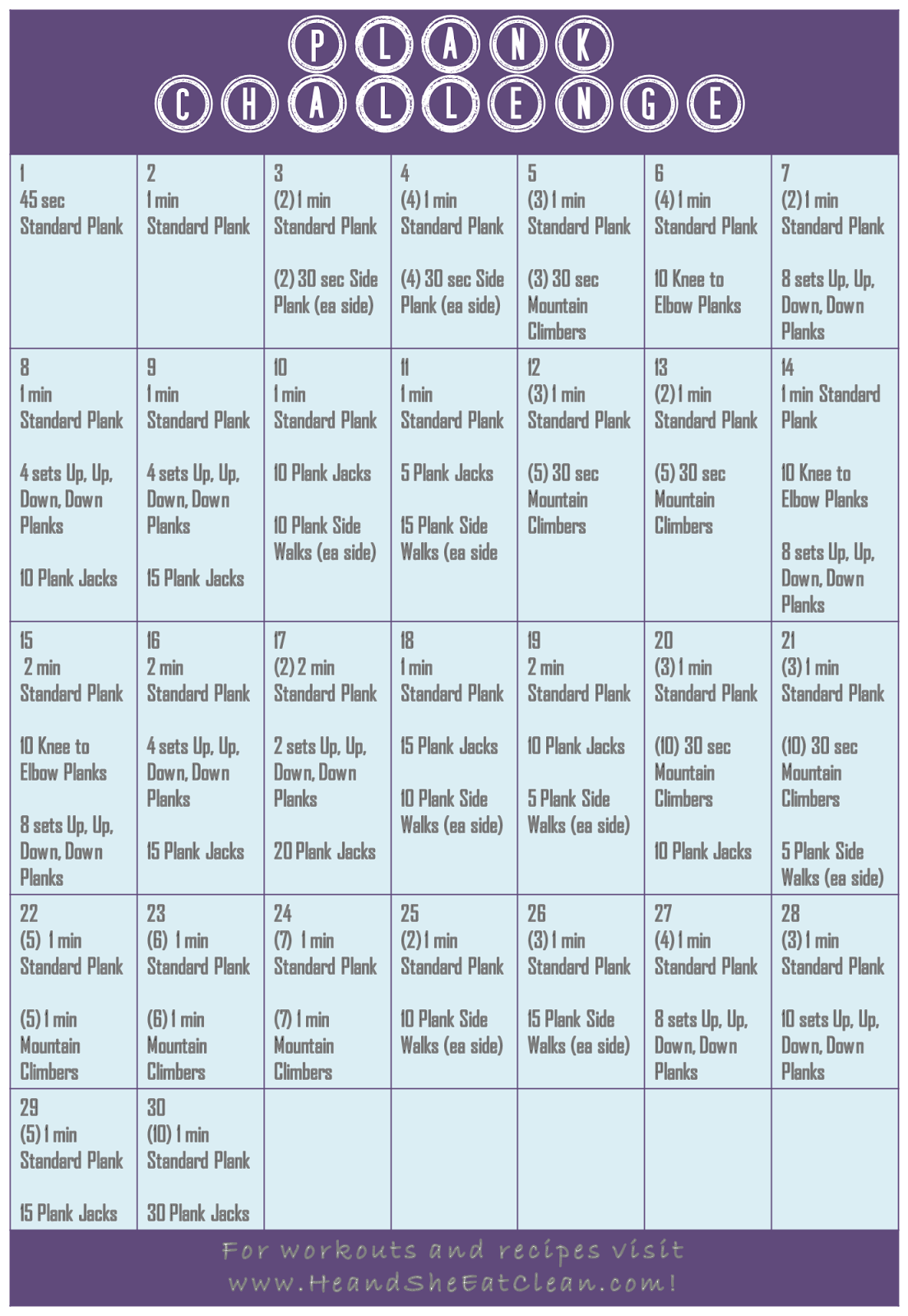 Plank Challenge Printable Calendar | New Calendar Template Site