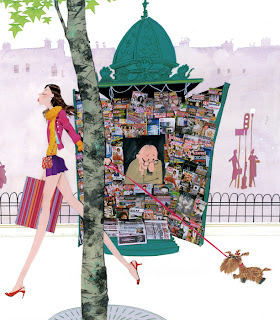 illustration of a news stand in paris with girl walking her dog by Robert Wagt