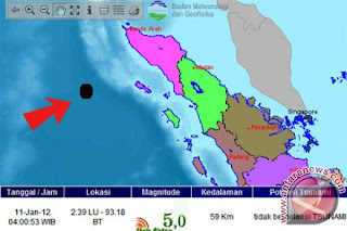 Gempa 5 SR Kembali Goyang Simeulue Aceh
