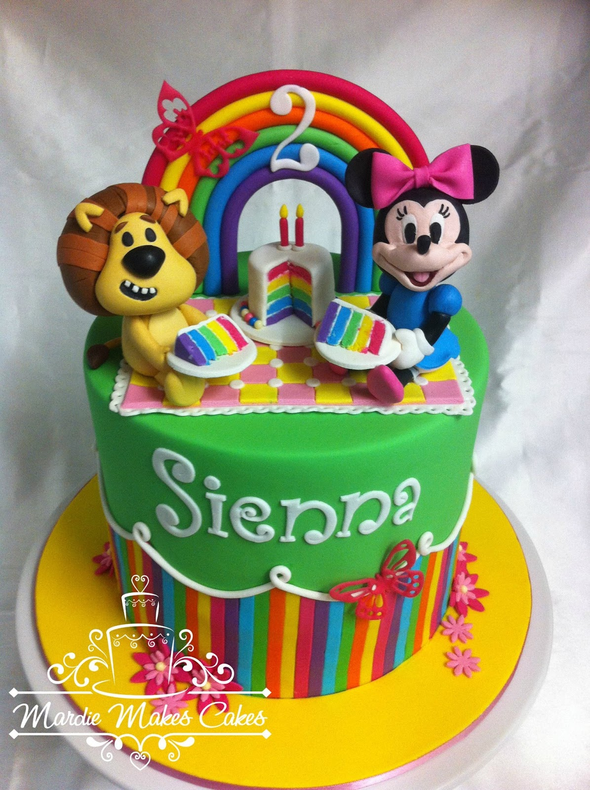 Mardie makes Cakes Rara Lion Minnie Mouse Rainbow Fondant Cake