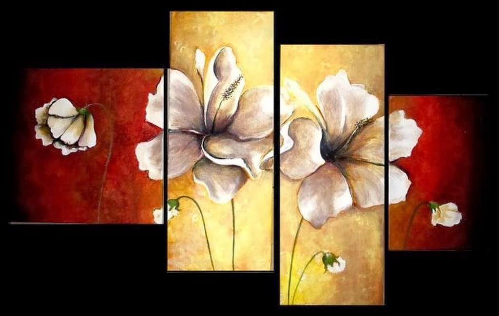 Cuadros modernos pinturas y dibujos tr pticos de flores Cuadros tripticos modernos para comedor