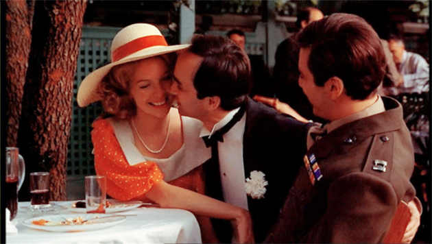 Al Pacino and Diane Keaton and John Cazale in The Godfather
