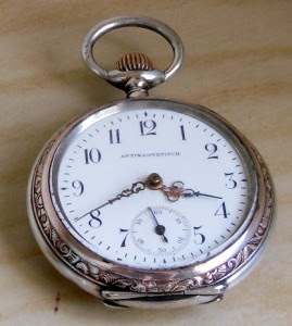 ANTIQUE SOLID SILVER SWISS 'ANTIMAGNETISCH' POCKET WATCH c.1920