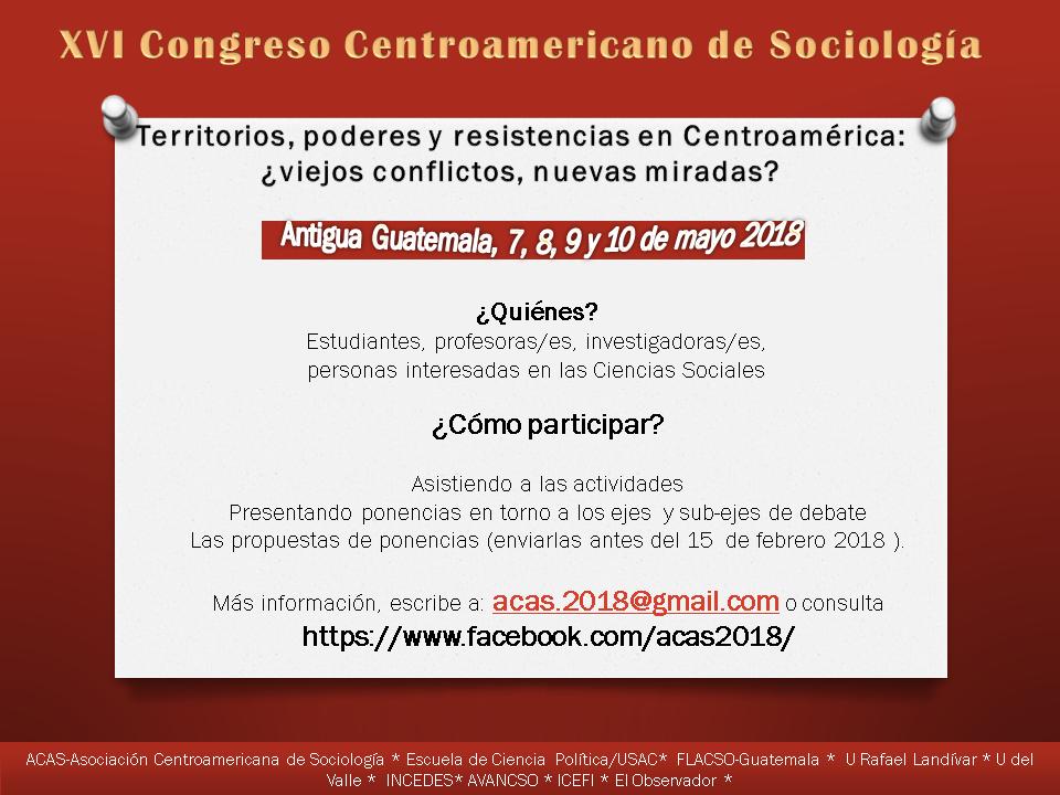 XVI Congreso Centroamericano de Sociología