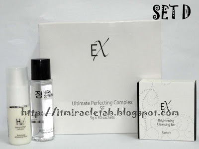 EX Ultra Perfecting Complex SF + HD Advanced Whitening Fluid + HD Glow Essence + Tab Soap
