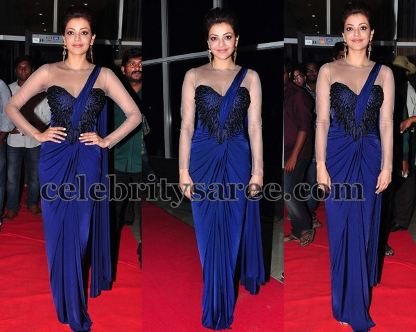 Kajal Blue Saree Drape